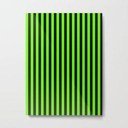 Bright Green and Black Vertical Stripes Metal Print