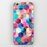 crystal iPhone & iPod Skins featuring Topaz & Ruby Crystal Honeycomb Cubes by micklyn