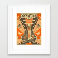 breathe Framed Art Prints featuring BREATHE by Jazzberry Blue