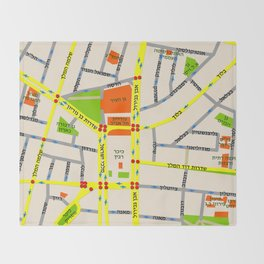 Tel Aviv map design - written in Hebrew Throw Blanket