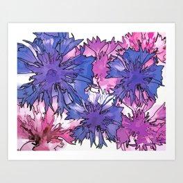 Cornflower Collage Art Print