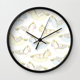 Sleepy lazy cats in unicorn floaties Wall Clock