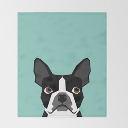 Logan - Boston Terrier pet design with bold and modern colors for pet lovers Throw Blanket