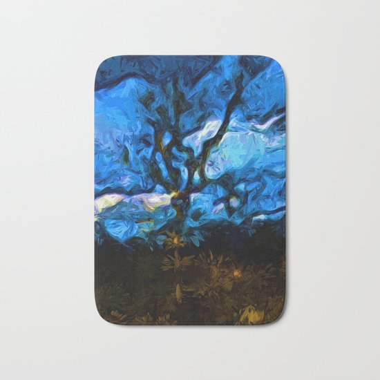 Tree Fights the Wind and Blue Sky Bath Mat