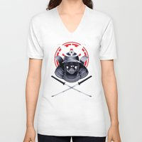darth V-neck T-shirts featuring Darth Samurai by Steven Toang