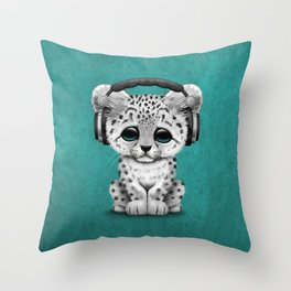Cute Snow leopard Cub Dj Wearing Headphones on Blue Throw Pillow