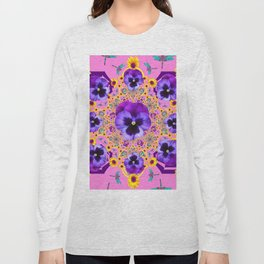 PURPLE PANSIES YELLOW FLOWERS PINK GARDEN Long Sleeve T-shirt