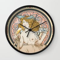 mucha Wall Clocks featuring Mucha modern stylization by Anna Sun
