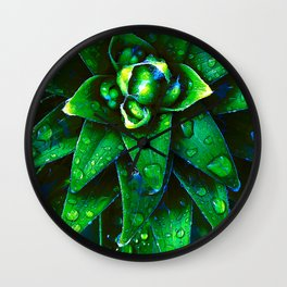 Morning Dew On Plant Wall Clock