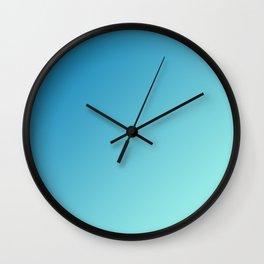 Blue and Light Soft Cyan Blue Aqua Gradient Ombré  Wall Clock