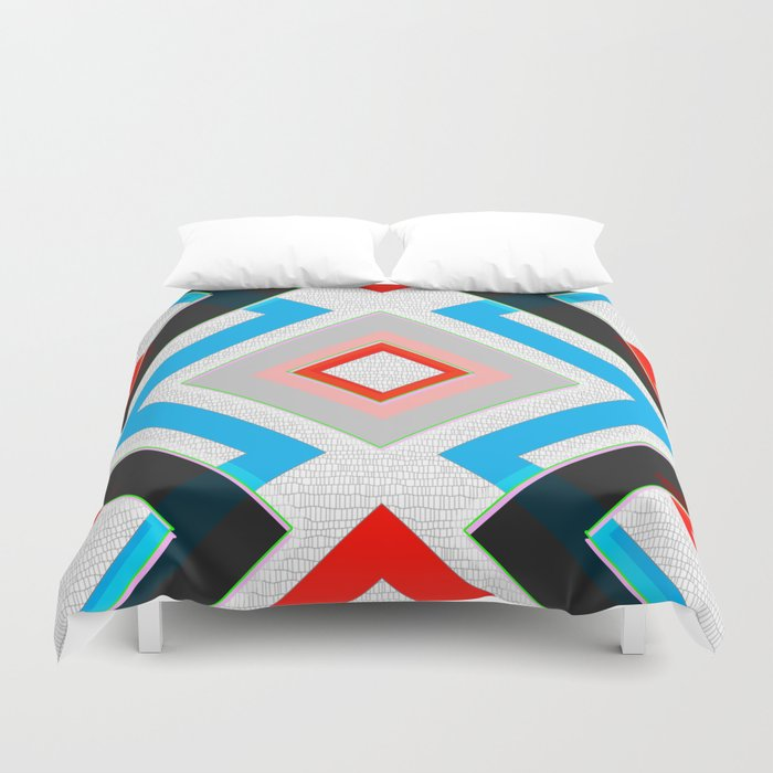 Black Blue Red Pink and White Small Diamond Textured Minimal Simple Pattern Home Goods Duvet Cover