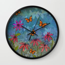 butterfly garden Wall Clock