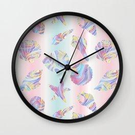 Pastel Rainbow Mermaid Seashells Wall Clock