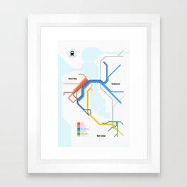 Bay Area Rail Map Framed Art Print