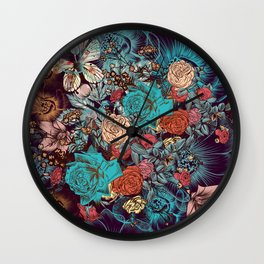 Beautiful print with hand drawn roses and butterflies in vintage style Wall Clock