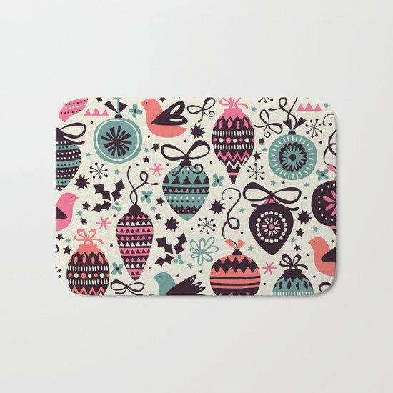 Birds and Baubles  Bath Mat