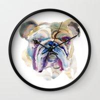bulldog Wall Clocks featuring Bulldog by coconuttowers