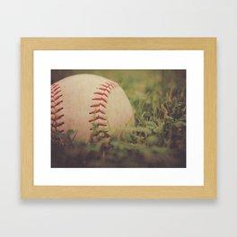 Used Baseball in Grassy Field wth Aged Effect Framed Art Print