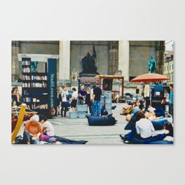 Open air library at Munich Odeonsplatz Canvas Print