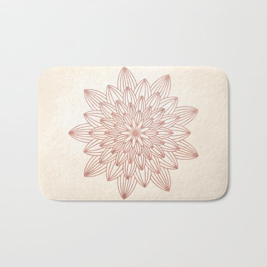 Mandala Blossom Rose Gold on Cream Bath Mat