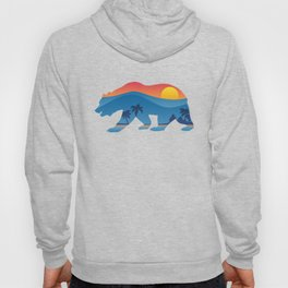 California bear with superimposed mountains and beach shoreline Hoody