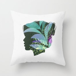 Face female silhouette floral light green Throw Pillow