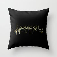 gossip girl Throw Pillows featuring XOXO, Gossip Girl by Amélie Store