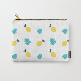 Modern sunshine yellow teal tropical cheese leaves summer fruit pattern Carry-All Pouch