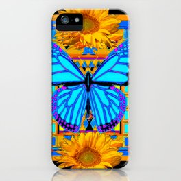Golden Sunflowers Blue Butterfly black Art iPhone Case