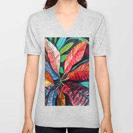 Colorful Tropical Leaves 2 Unisex V-Neck