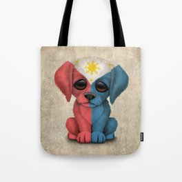 Cute Puppy Dog with flag of The Philippines Tote Bag