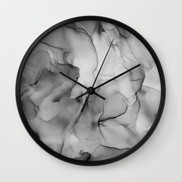 Black and White Marble Ink Abstract Painting Wall Clock