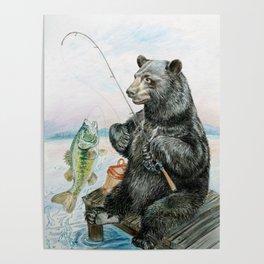 Black Bear catching a Bass Poster