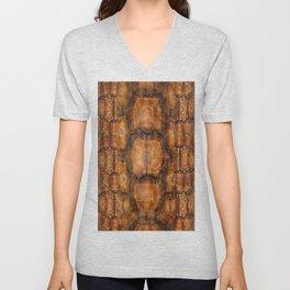 Brown Patterned  Organic Textured Turtle Shell  Design Unisex V-Neck