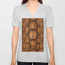 Brown Patterned  Organic Textured Turtle Shell  Design Unisex V-Neck