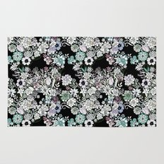 Colorful black detailed floral pattern Rug
