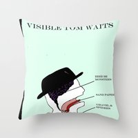 tom waits Throw Pillows featuring VISIBLE TOM WAITS by Jim Lockey