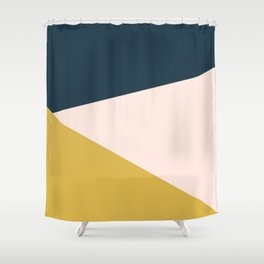 Jag 2. Minimalist Angled Color Block in Navy Blue, Blush Pink, and Mustard Yellow Shower Curtain