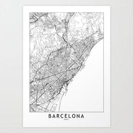 Barcelona White Map Kunstdrucke