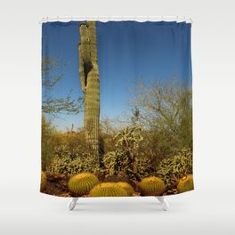 Saguaro and Mother in Law Pillow Shower Curtain