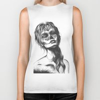 sugar skull Biker Tanks featuring Sugar Skull by Lena Safaniouk