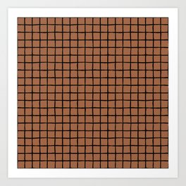 Geometric raster minimal raw brush strokes grid pattern copper Art Print