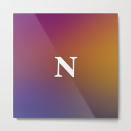Monogrammed Letter N 80s Style Orange, Yellow, Pink & Blue Vaporwave Picture Metal Print