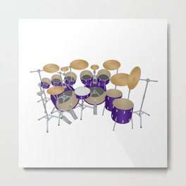 Purple Drum Kit Metal Print