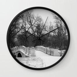 Winter Solitude - St. Louis Snowy Bridge Wall Clock