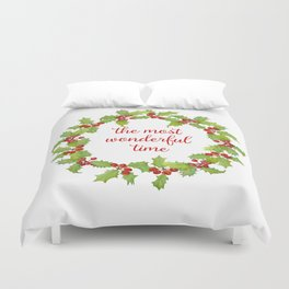 Christmas Holly Wreath The Most Wonderful Time Duvet Cover