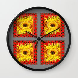 DECORATIVE TEAL-RED & YELLOW SUNFLOWER GREY DECO FLORAL Wall Clock