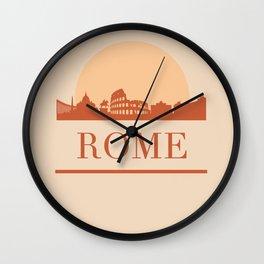 ROME ITALY CITY SKYLINE EARTH TONES Wall Clock