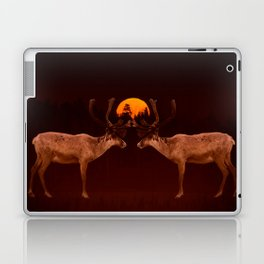 Reindeers With Moon On A Dark Purple Background #decor#buyart #society6 Laptop & iPad Skin