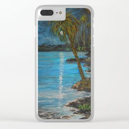 Tropical Moon Reflection II Clear iPhone Case